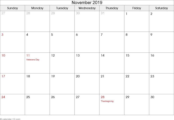 November 2019 Calendar 1