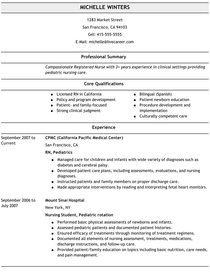 nursing resume template free premium