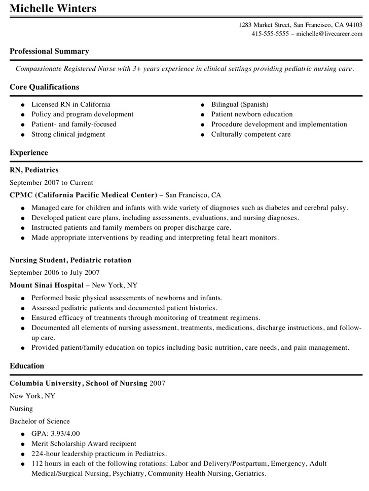 nursing resume template. cardiac nurse resume sample 847 best ...