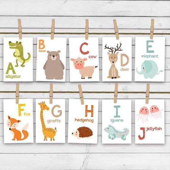 Nursery A-Z Animal Alphabet Flash Card Set