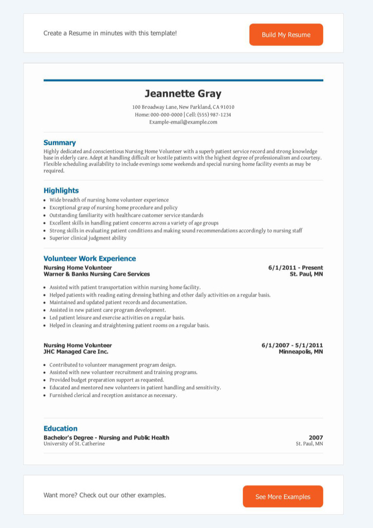 volunteer resume templates free premium