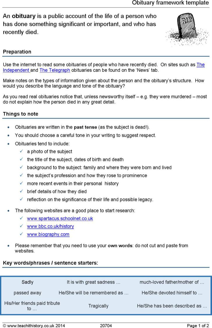Obituary Framework Template Example