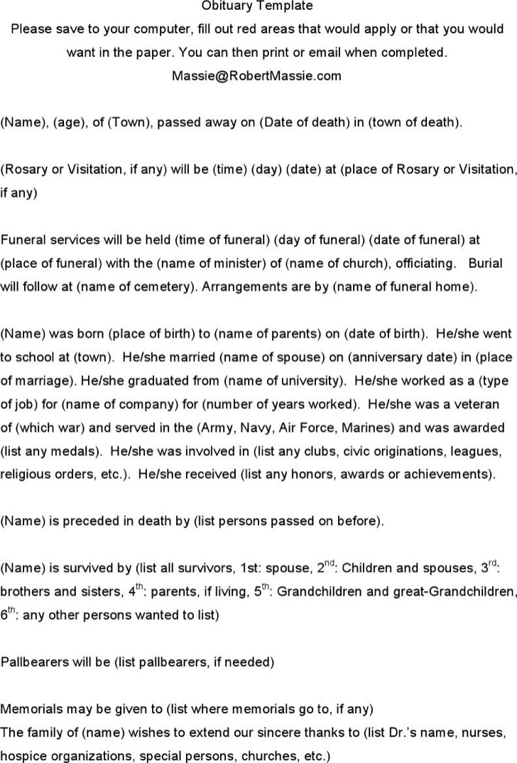Obituary Notice Word Format