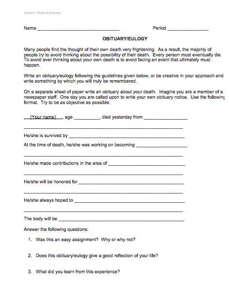 Obituary Outline Form Template in PDF