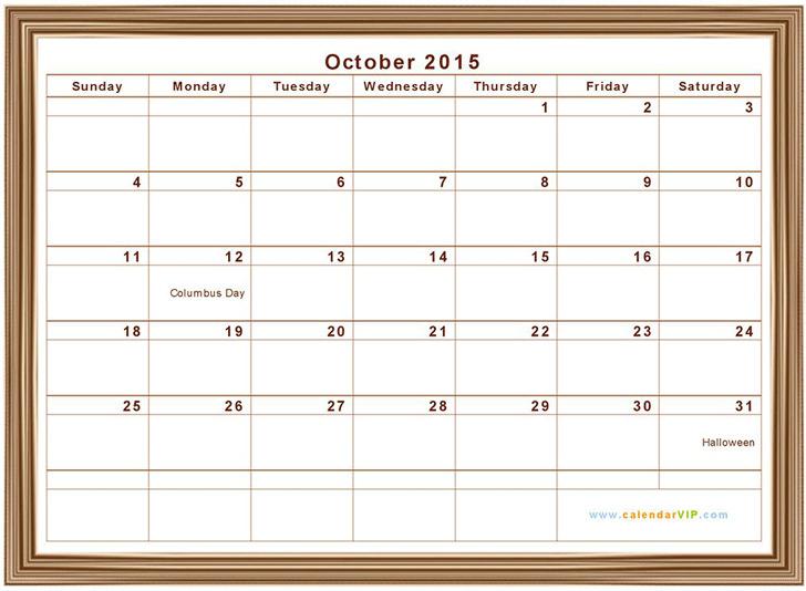 October 2015 Calendar 1