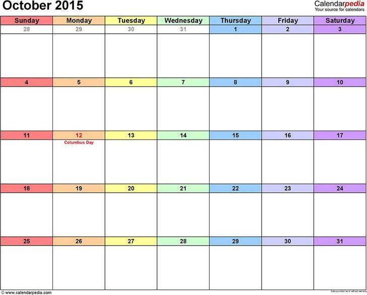 October 2015 Calendar 3