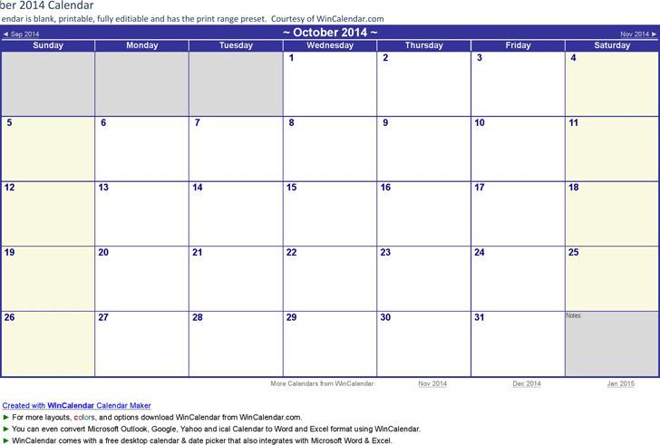 October 2016 Calendar 2