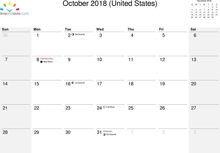 October 2018 Calendar 3