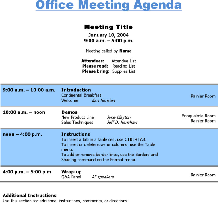Office Meeting Agenda Template
