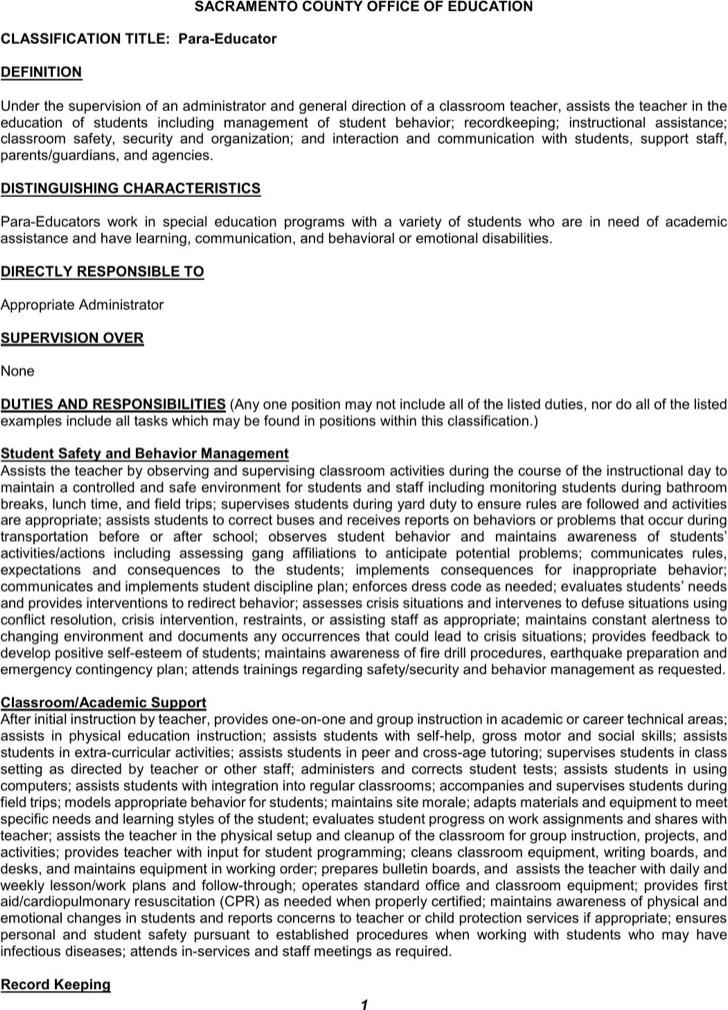 Paraeducator Resume Templates | Download Free & Premium Templates ...