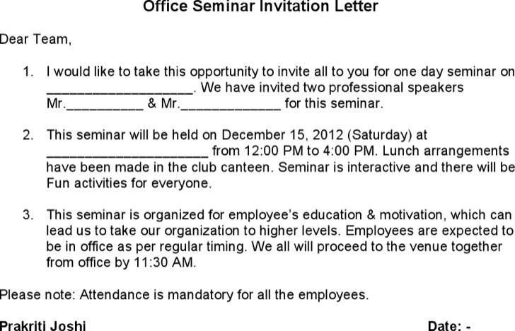 Office Seminar Invitation Letter