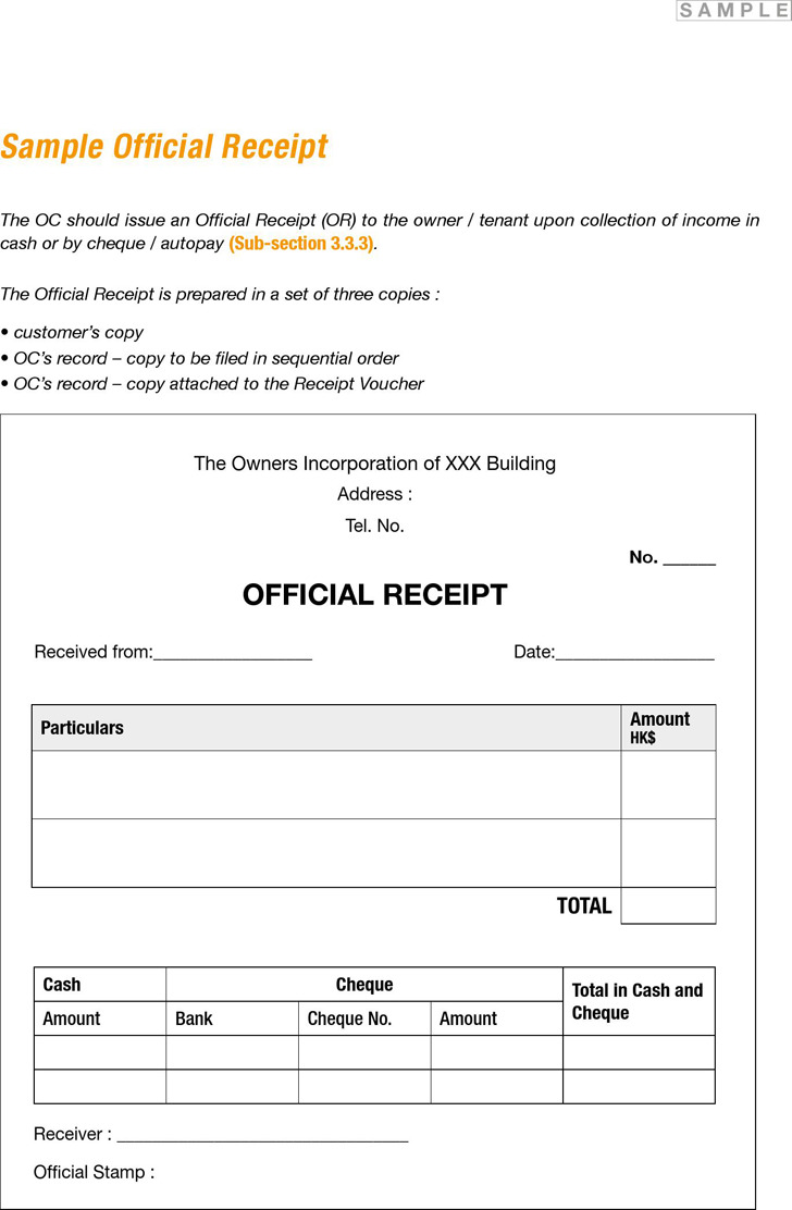 Sample Sales Receipt Forms
