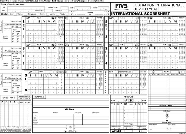 Volleyball Score Sheet  Download Free  Premium Templates Forms