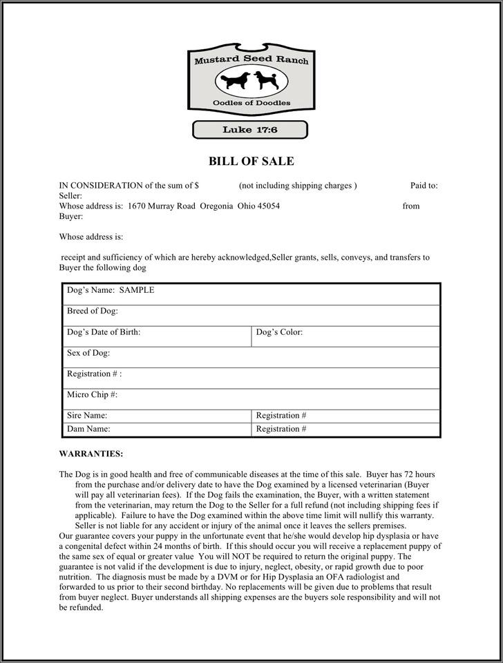 Ohio Animal Bill of Sale Form