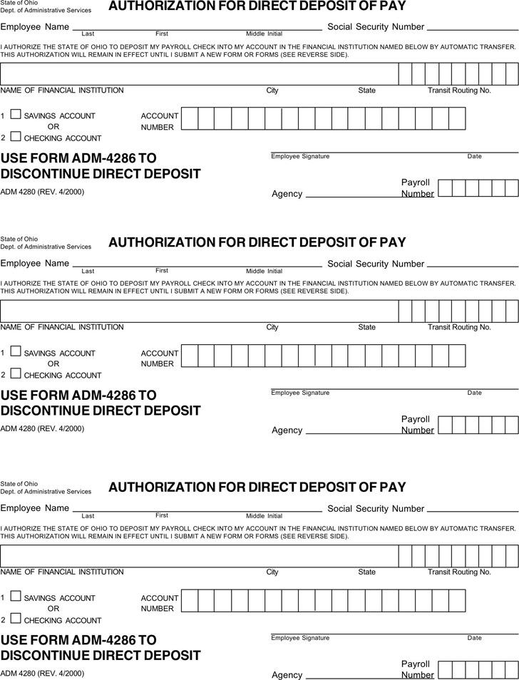Ohio Direct Deposit Form 1