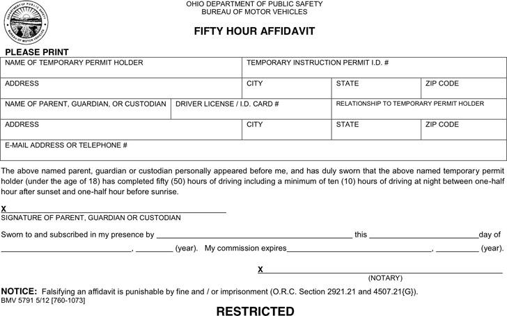 Ohio Fifty Hour Affidavit