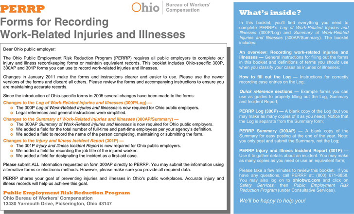 Ohio Forms For Recording Work-Related Injuries And Illnesses