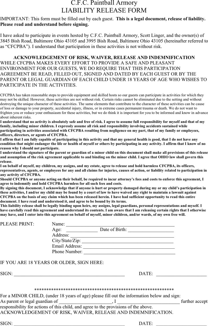 Ohio Liability Release Form 1