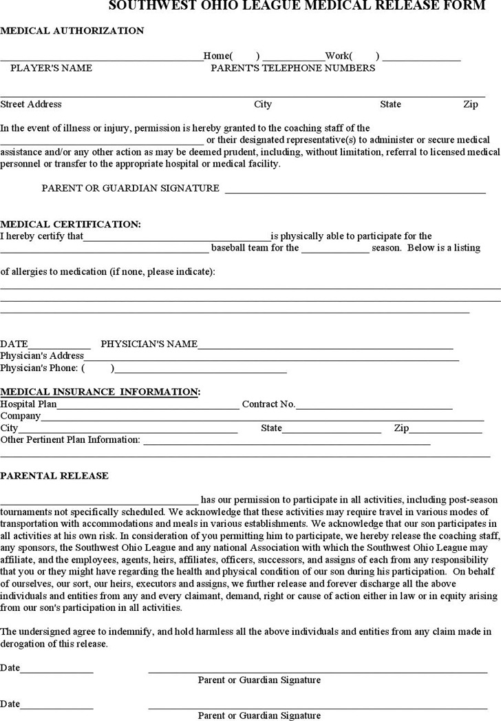 Ohio Medical Release Form 2