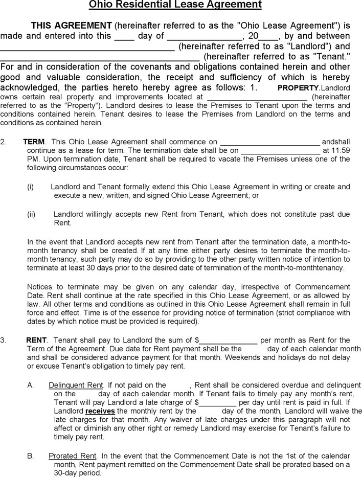 Ohio Residential Lease Agreement Template