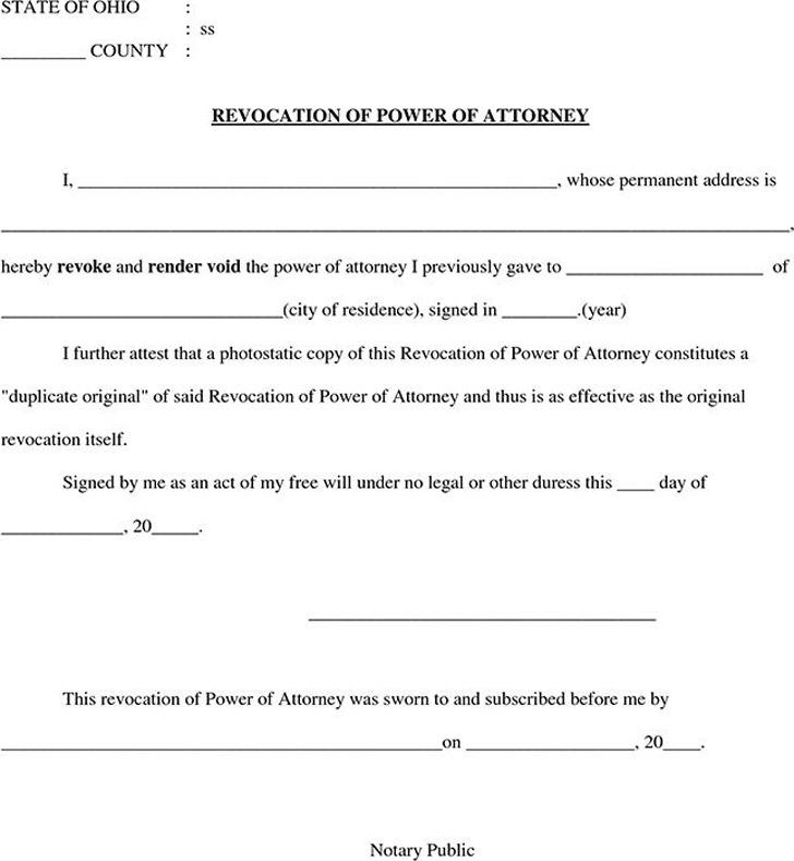 Ohio Revocation Power of Attorney Form