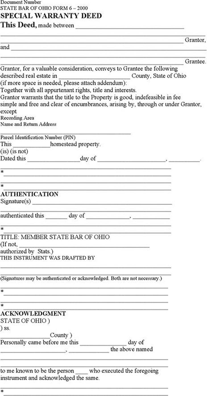 Ohio Special Warranty Deed