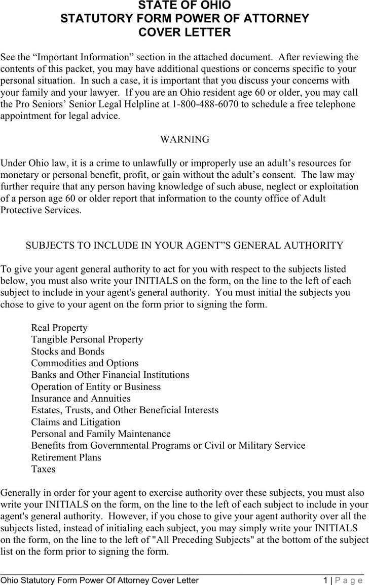 Ohio Statutory Power of Attorney Form