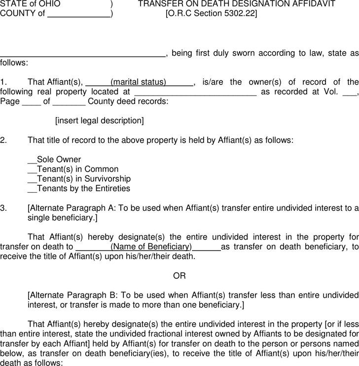 Ohio Transfer On Death Designation Affidavit