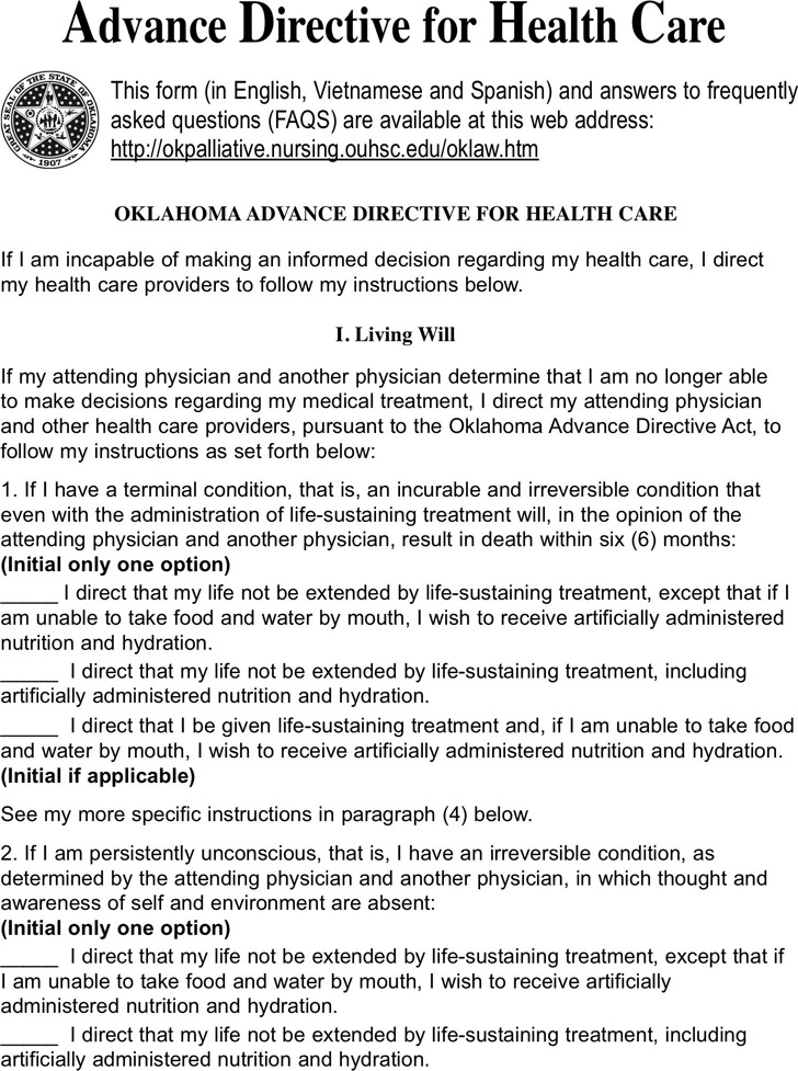 Oklahoma Advance Directive For Health Care