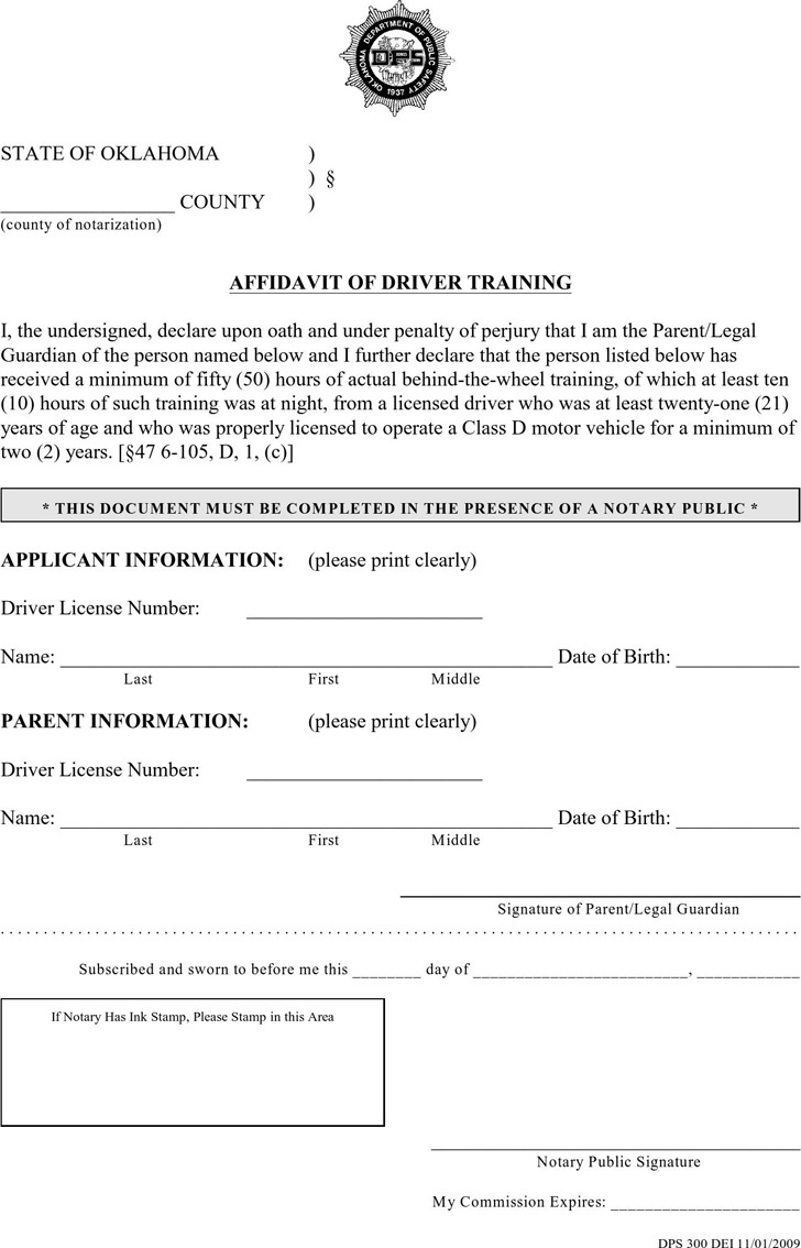 Oklahoma Affidavit of Driver Training Form