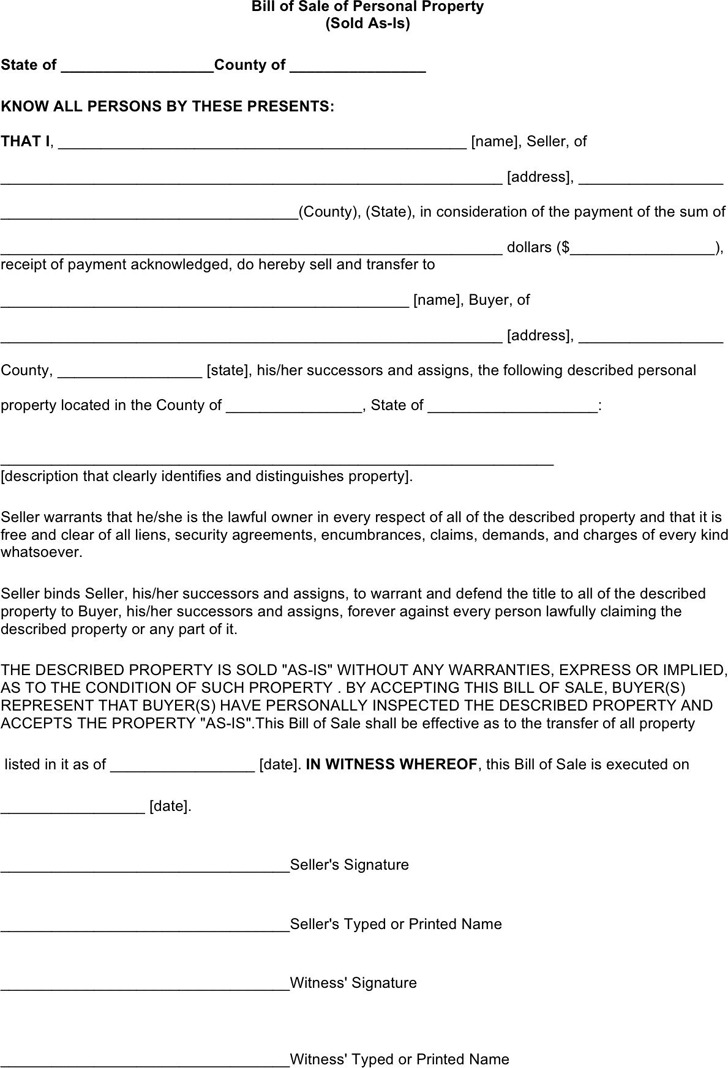 Oklahoma Personal Property Bill of Sale Form