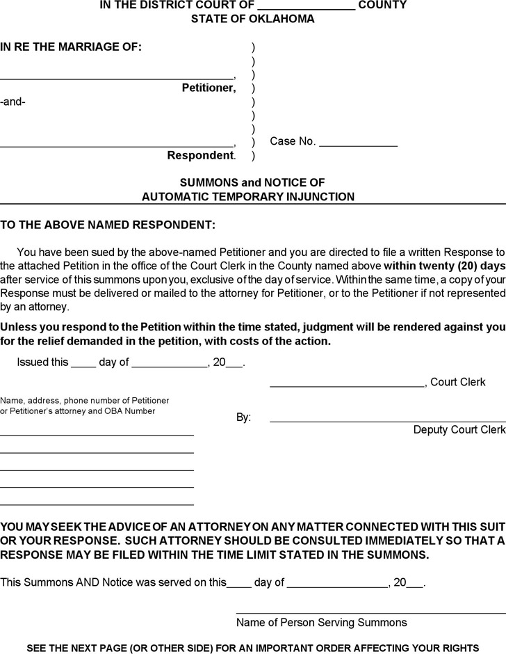 Oklahoma Summons and Notice of Automatic Temporary Injunction Form