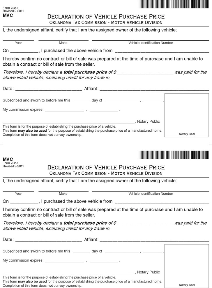 Oklahoma Vehicle Bill of Sale