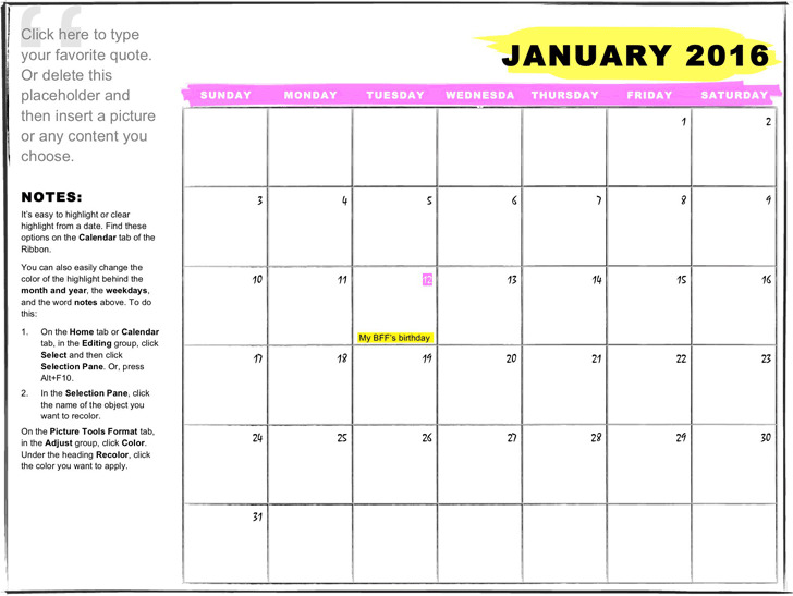 One-Month Student Calendar Any Year