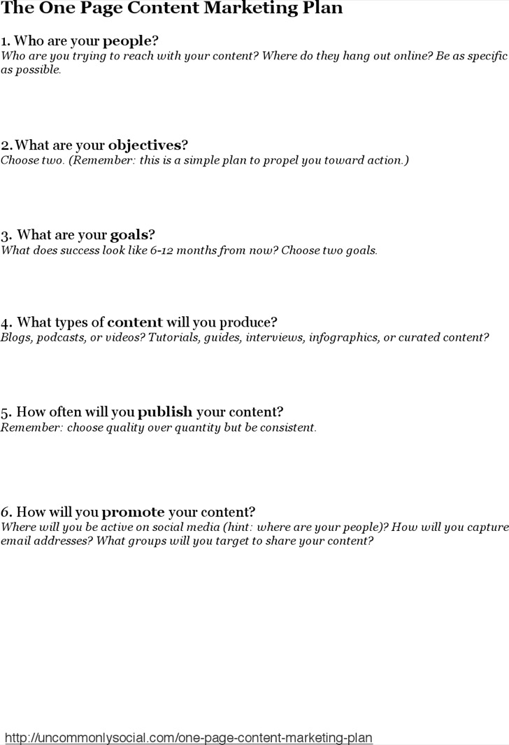 One Page Content Marketing Plan Template