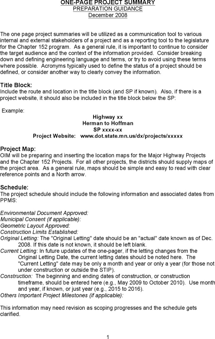 Word 2007 Summary Report Hematogolicstk One Page Project Summary Template  Word 2007 Summary Report  Project Summary Report Example
