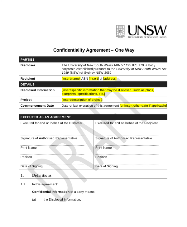 Generic Confidentiality Agreement  Download Free  Premium