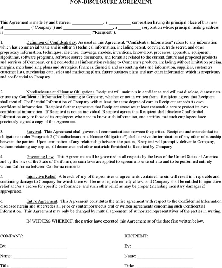 Non Disclosure Agreement Form  Download Free  Premium Templates
