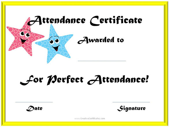 Online Editable School Attendance Certificate Template