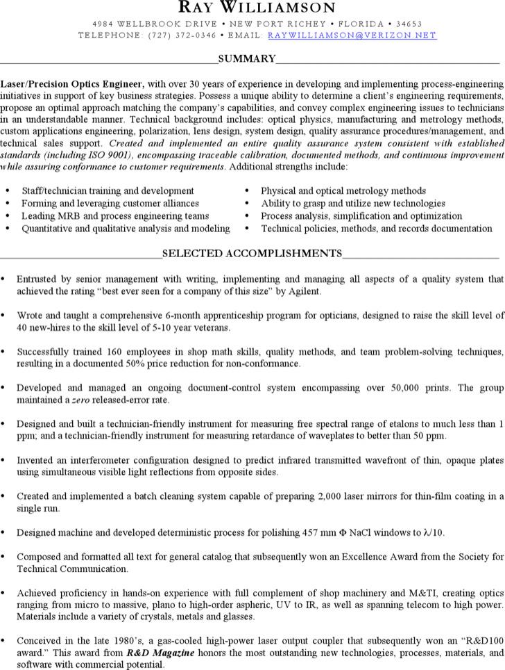 Optical Technician Resume