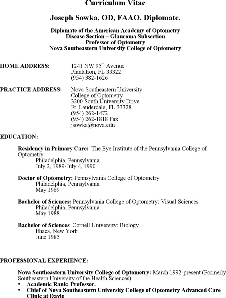 Optometrist Assistant Resume