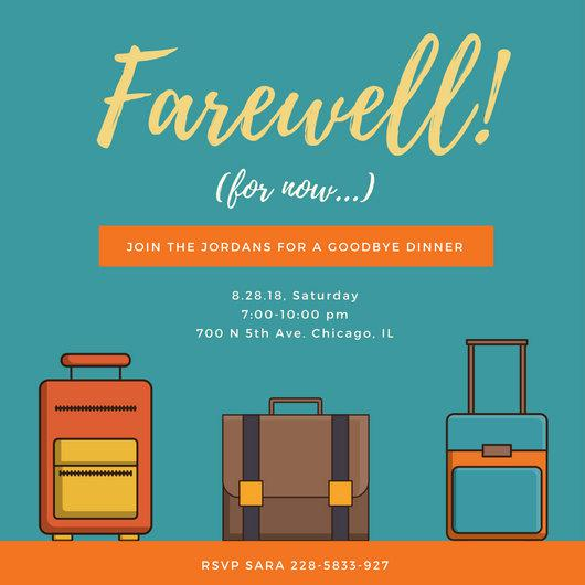 Orange Stripe Farewell Party Invite Download