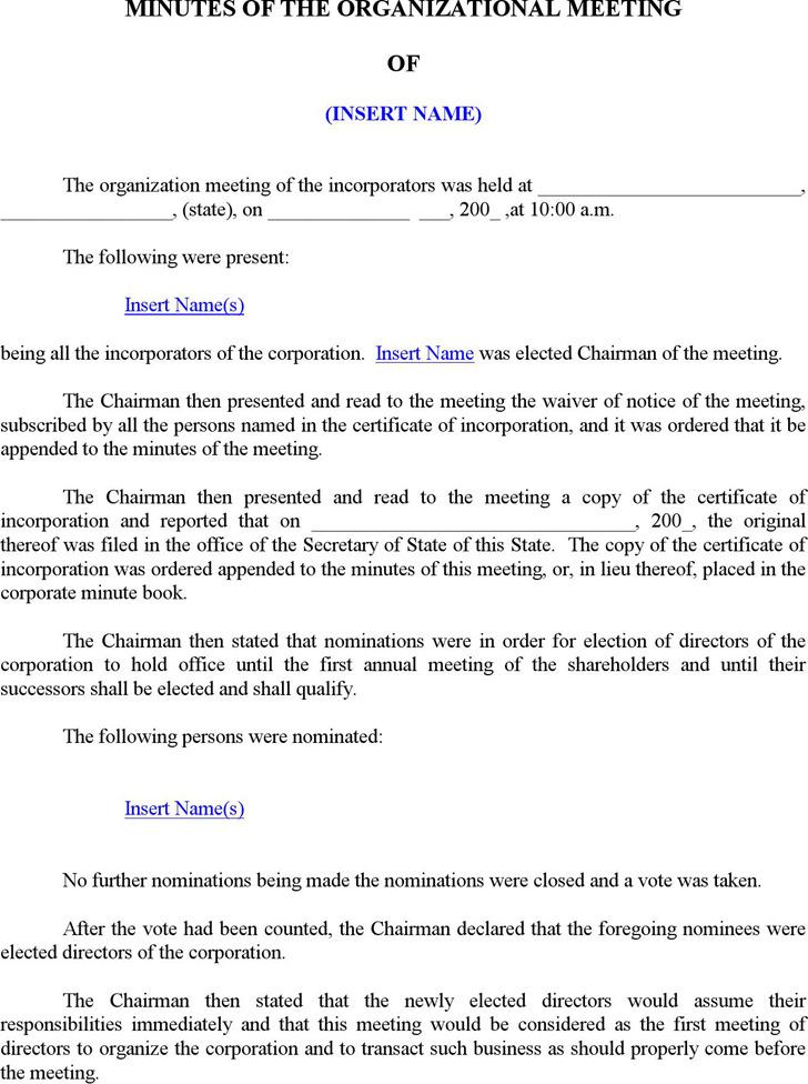 Oranizational Meeting Minutes