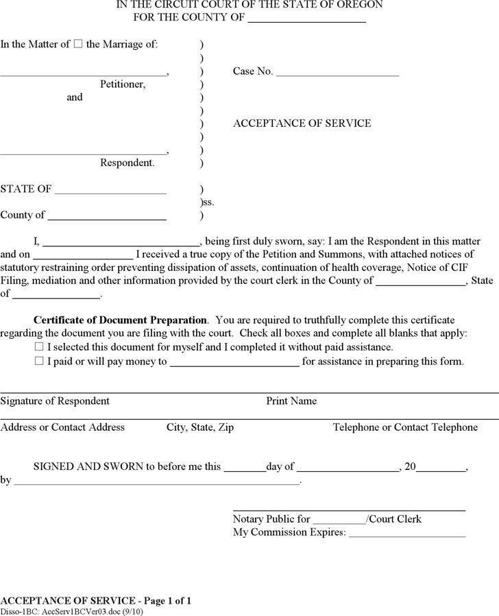 Oregon Acceptance of Service Form