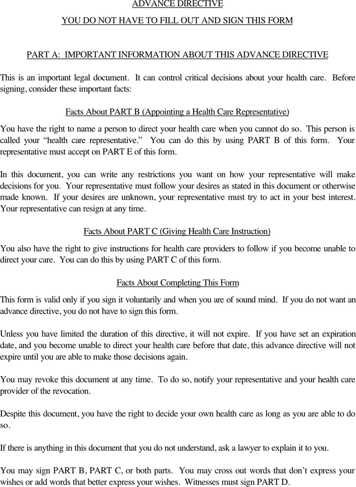 Oregon Advance Directive Form  Download Free  Premium Templates