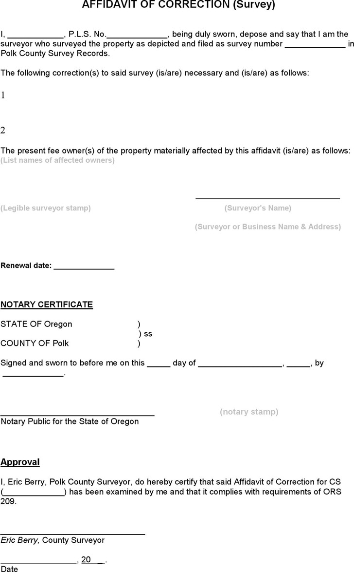 Oregon Affidavit of Correction (Survey) Form