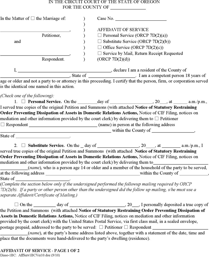 Oregon Affidavit of Service Form