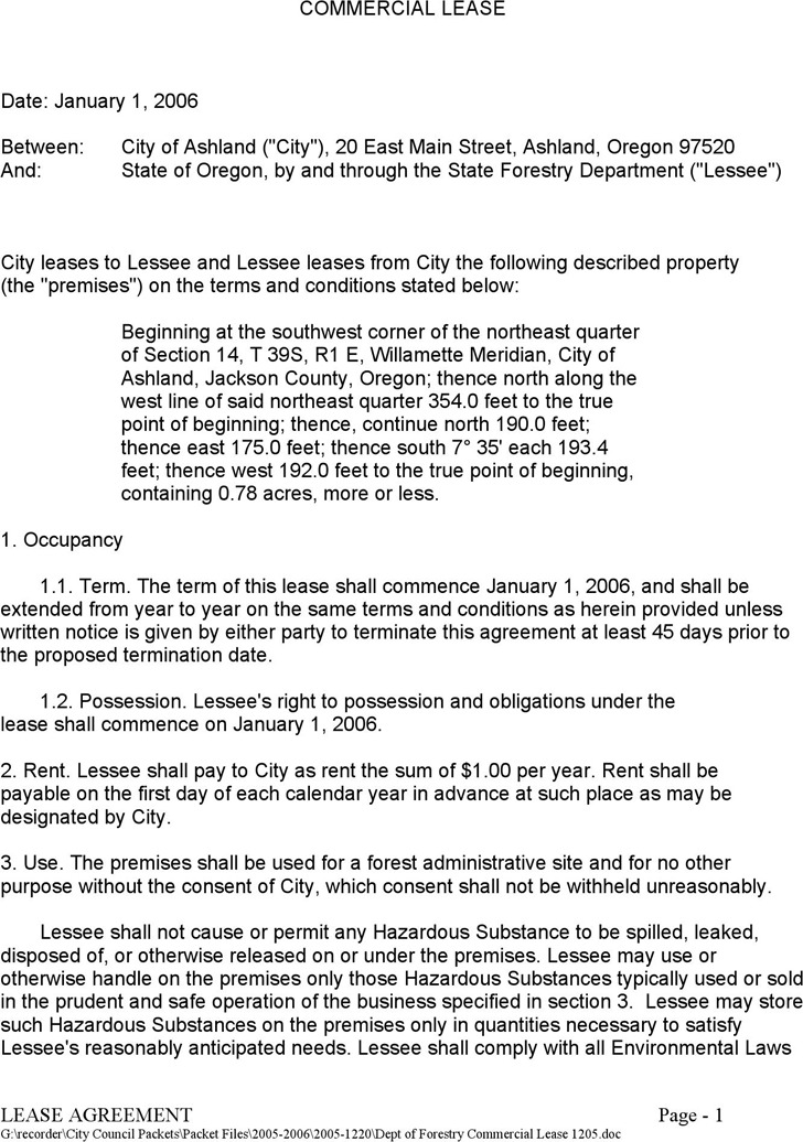 Oregon Commercial Lease Agreement Sample