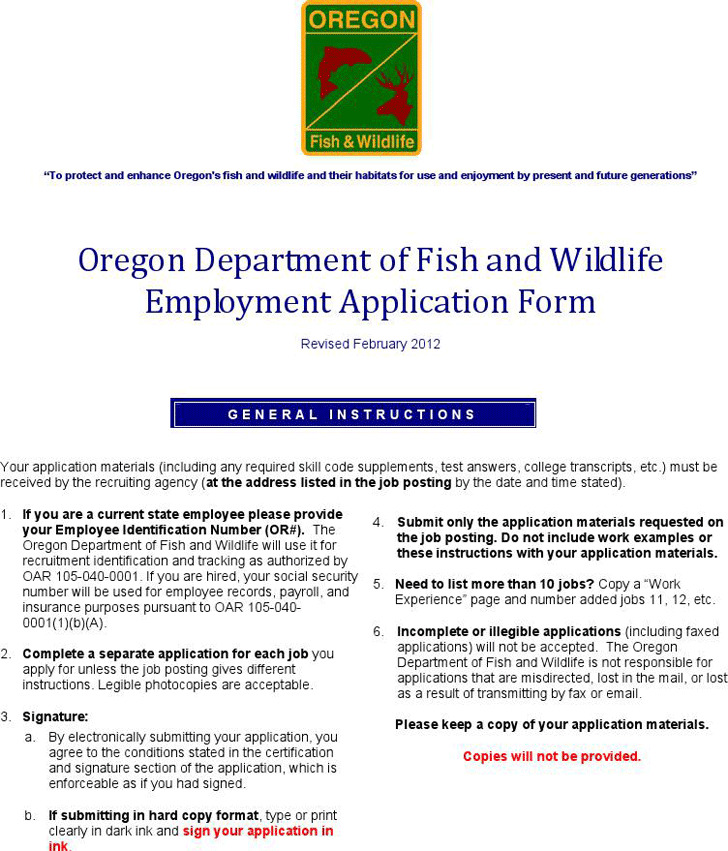 Oregon Department of Fish and Wildlife Employment Application Form