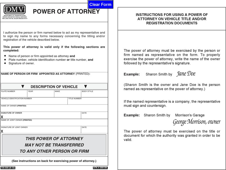 Oregon Motor Vehicle Power of Attorney Form